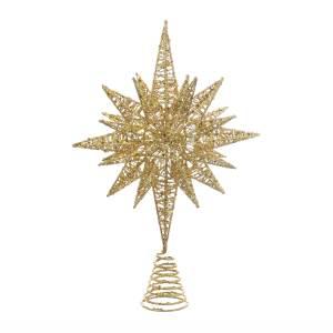 Tree Topper Gold Glitter Wire Star