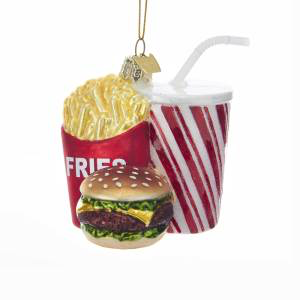 Fast Food Cheeseburger Fries And A Drink Combo Glass Ornament