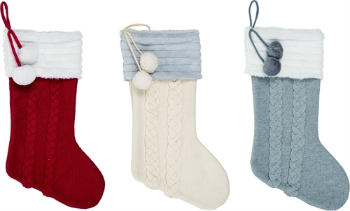 Cable Knit Christmas Stockings.Stocking Cable Knit Fabric With Pom Poms