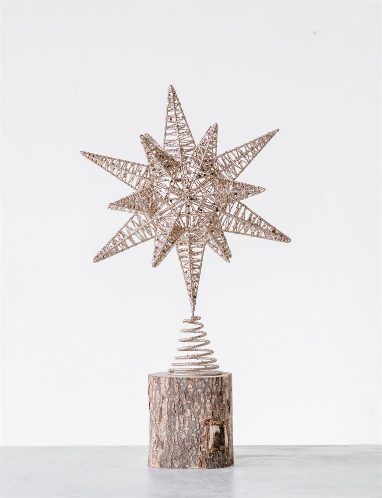 Tree Topper Metal Gold Glitter Star