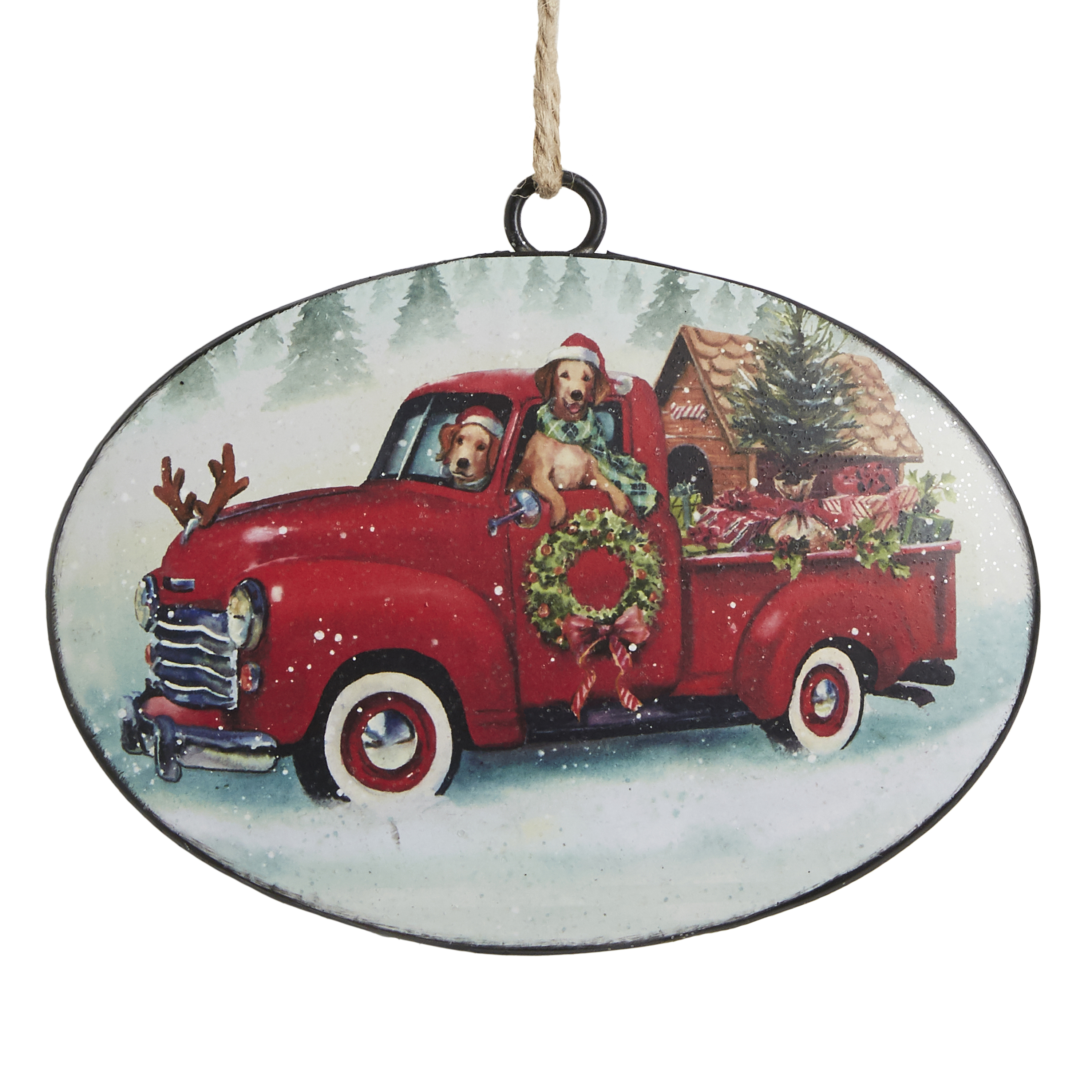 Red Christmas Ornaments.Red Christmas Truck With Pups Disc Ornament