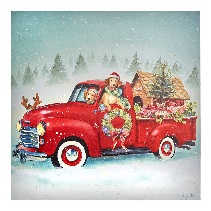 Red Christmas Truck.Lighted Print Red Christmas Truck With Pups