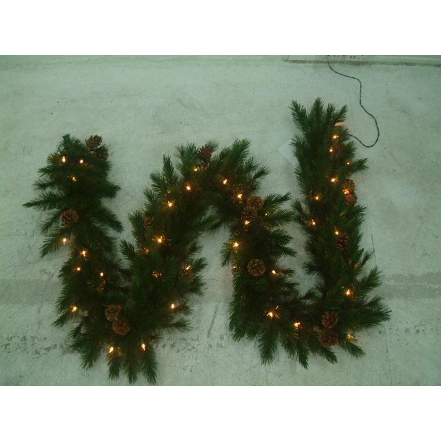 Christmas Pine Garland.Emerald Pine Lit Garland