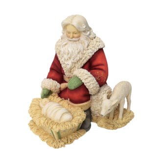 Santa Kneeling with Baby Jesus Figurine