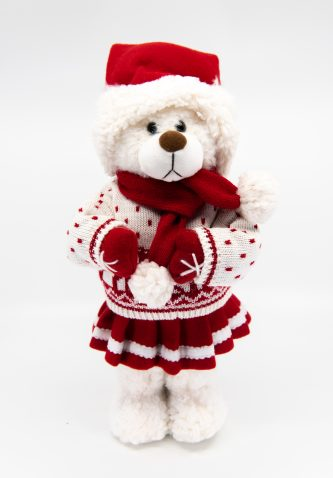 Fluffy Bear in a whtie sweater and fluffy boots figurine