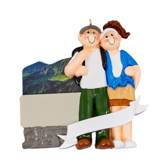 Boy and Girl Hiker with Mountains Personalized