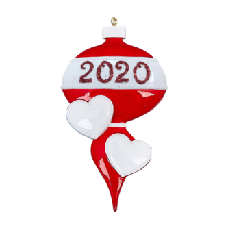 Red Ornament with White Hearts 2020 Personalize