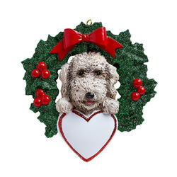 Green Wreath with Red Berries and Labradoodle Face Personalize