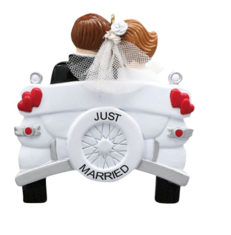 White Vintage Car with Just Married Couple Personalized