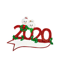 Snowman Family on a Red 2020 Sign Personalize