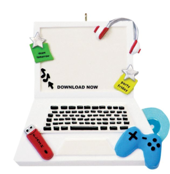 White Laptop with Blue Game Contoller and Flash Drive Personalize