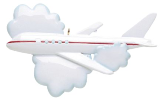 White Airplane with a Red Stripe Flying in the Clouds Personalize
