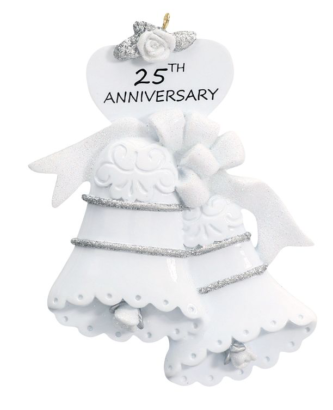 White Bells with Silver Trim 25th Anniversay Personalize