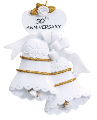 White Bell with Gold 50th Anniversay Personalize