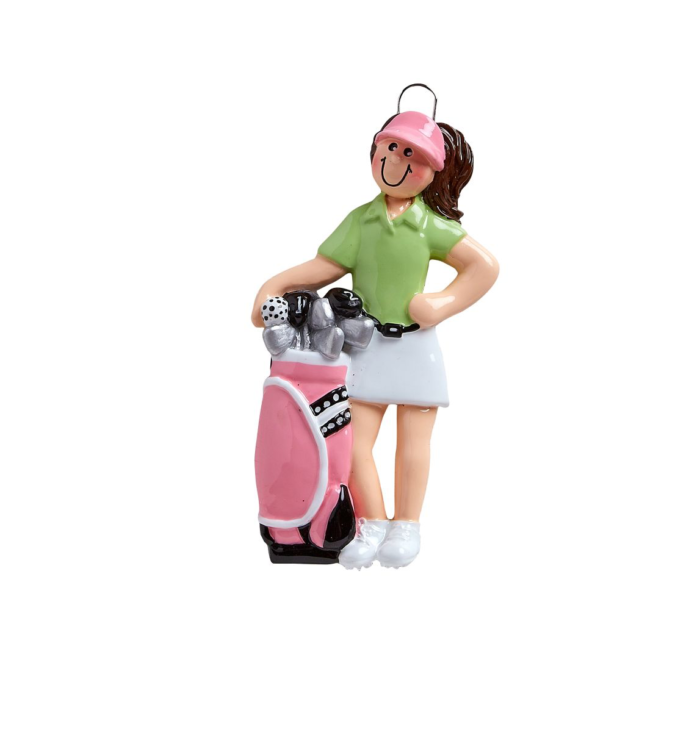 Lady Golfer with a Pink Golf Bag Personalize