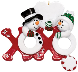 Red X and Snowman O Hugs and Kisses Snowman Couple Personalize