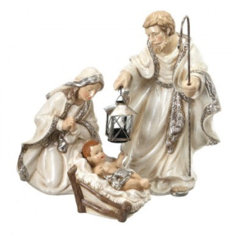 Holy Family Frosted with Silver Trim Figurine