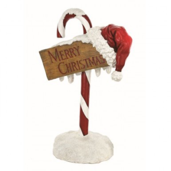 Candy Cane Post with Merry Christmas sign Yard Art