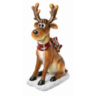 Whimsical sitting Deer for the Yard with Plaid Scarf