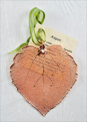 Rose Gold Real Aspen Leaf Ornament