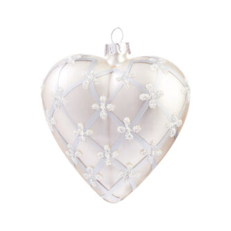 Pearl finish with Crisscross Pattern Heart Ornament