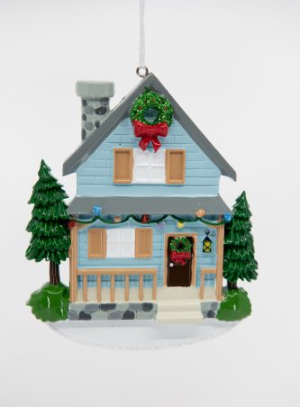 Blue House with Pine Trees Two Story Ornament