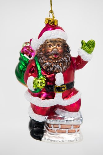 African American Santa Going Down the Chimney with Bag of Toys Glass Ornament
