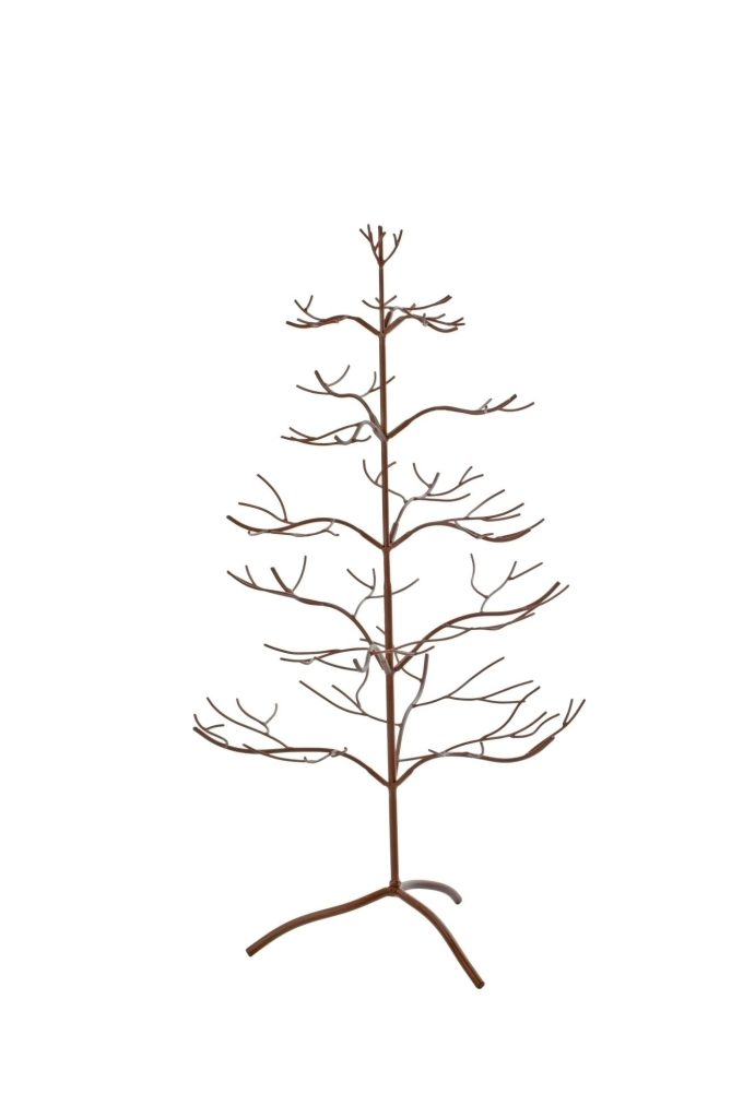 Metal Tree Painted Mahogany color with splayed branches for Ornaments