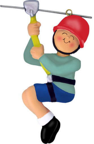 Boy on Zipline with Red Helmet Ornament Personalize