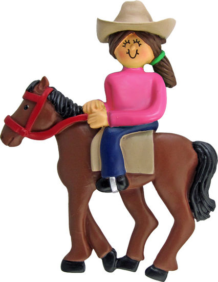 Brown Haired Horseback Rider on a Brown Horse Ornament Personalize