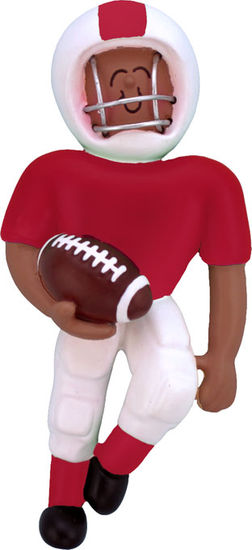 African American Football Player in Red or Green Uniform Ornament Personalize