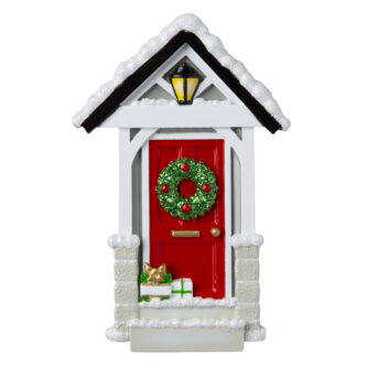 Red Door Ornament with Snowy Roof Ornament