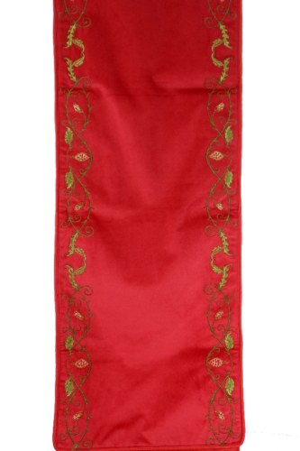 Red Table Runner with Leaf Pattern