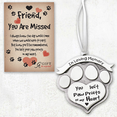 Friend you are missed Paw Print Memorial Ornament