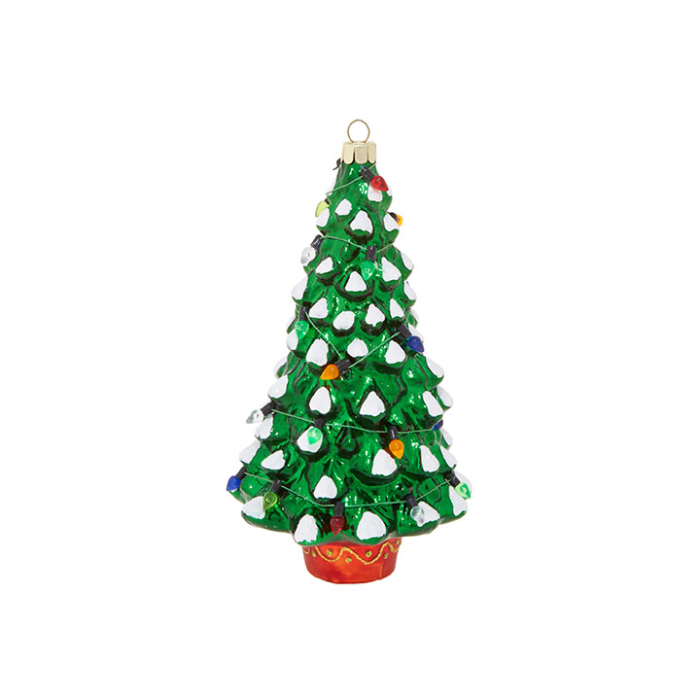 Christmas Tree with Snow tipped boughts and colorful light sting ornament