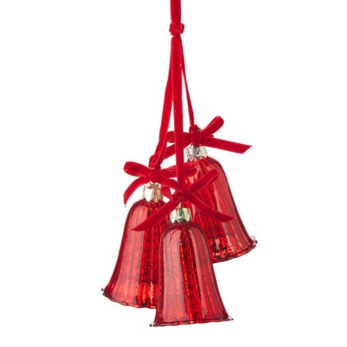 Red Mercury Glass Bells on velvet Ribbon Ornament