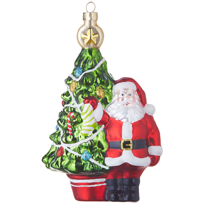 Decorated Christmas Tree with Santa Standing in front Ornament