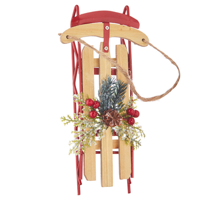 Red Rail Sled with slats and evergreen decoration ornament