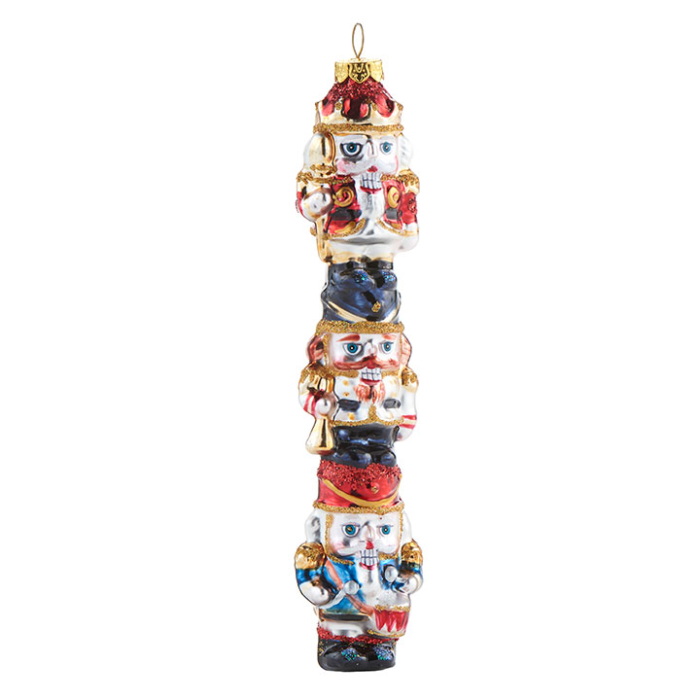 Three glass nutcrackers stacked ornament