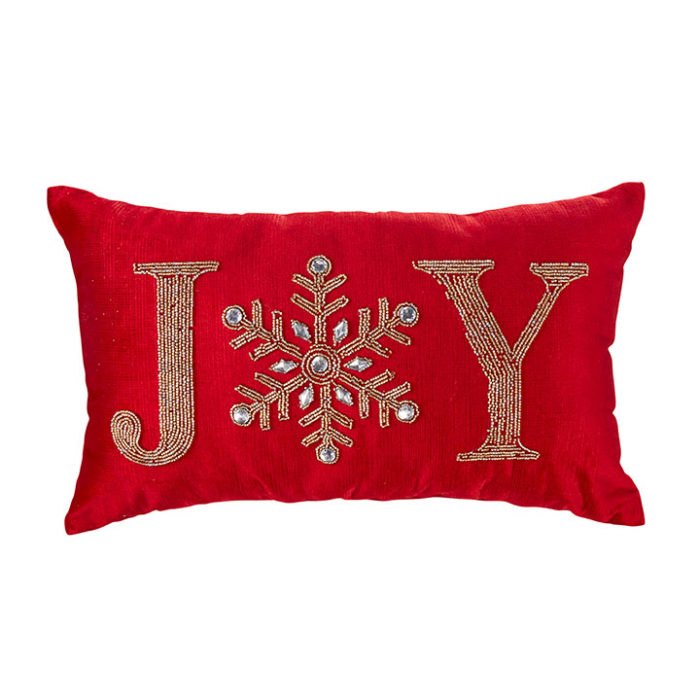 Beaded Joy Pillow with Snowflake for the letter O