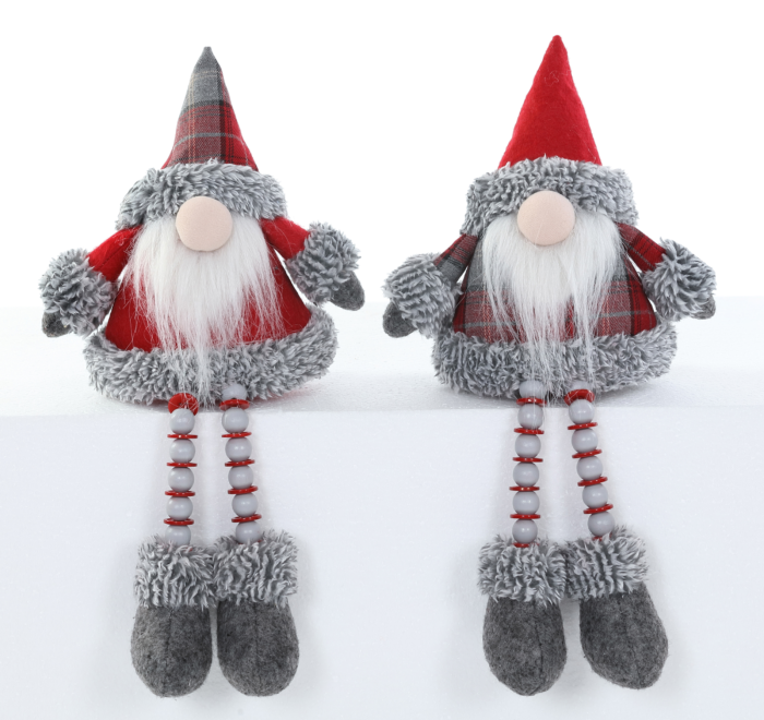 Shelf sitting Gnomes with Button and Bead Long Legs