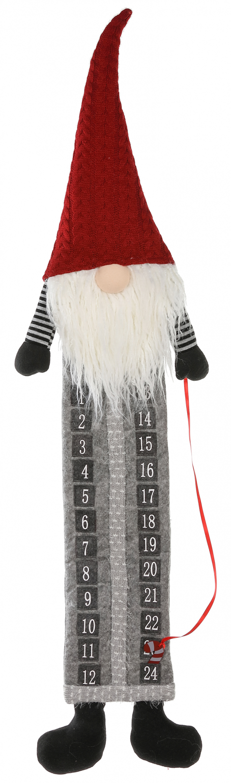 Advent Calendar Gnome Red and Grey with Candy Cane Marker