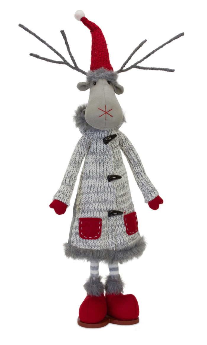 Standing Moose with knit coat and red boots
