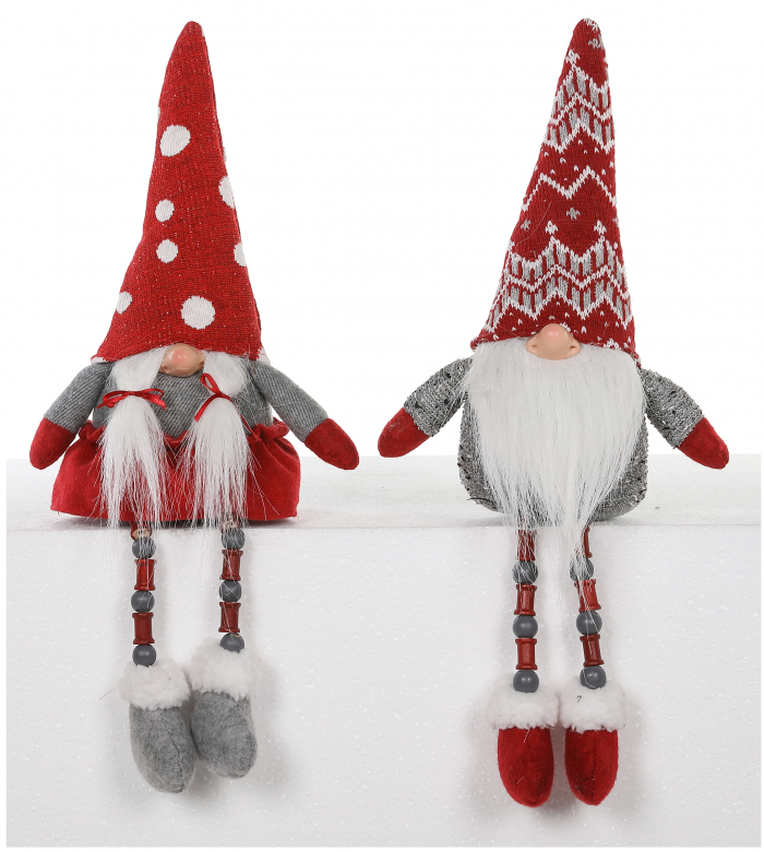 Boy and Girl Gnome with Spool and Bead Legs Shelf Sitter