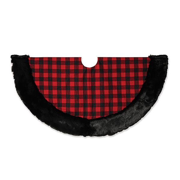 """Red Plaid 48"""" with Black Faux Fur Trim Tree Skirt"""