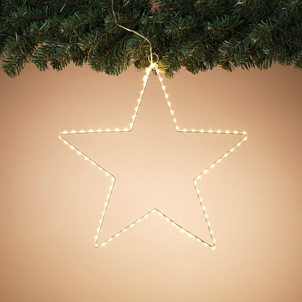 """15"""" Electric Star Silver Wire with White Lights Outdoor"""