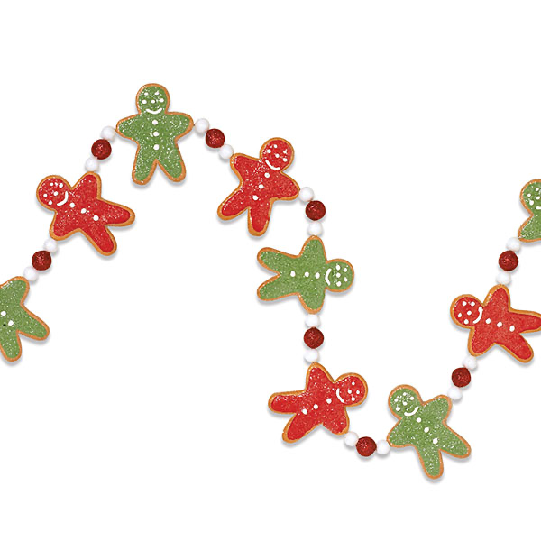 Red and Green Gingerbread Men separated by a red and two white beads