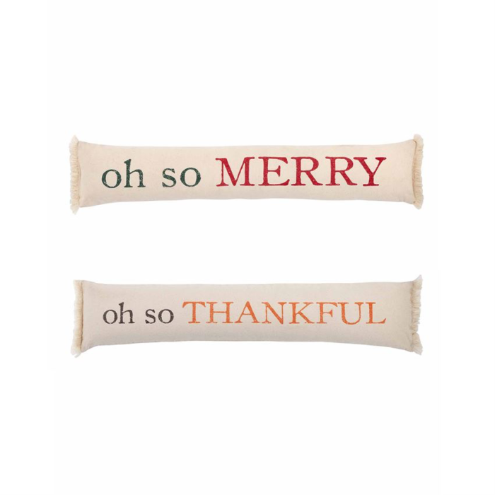 Pillow with oh so merry on one side and oh so thankful on the other