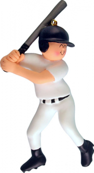 Baseball Player ready to swing in white uniform Personalize