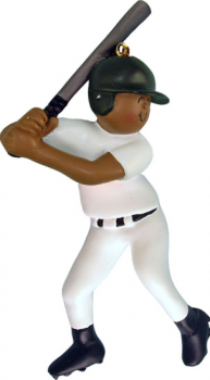 African American Baseball Player ready to swing in white uniform Personalize